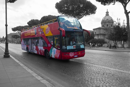 ROME, ITALY, OCTOBER 18:  Bus tour of Rome, Italy.  Black and white and selective de-saturation  Stock Photo - 11593476