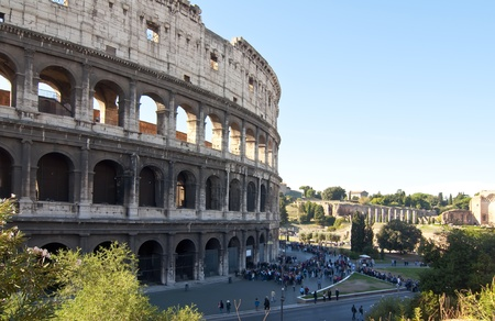 Tourists waiting outside the Coliseum in Rome to visit photo