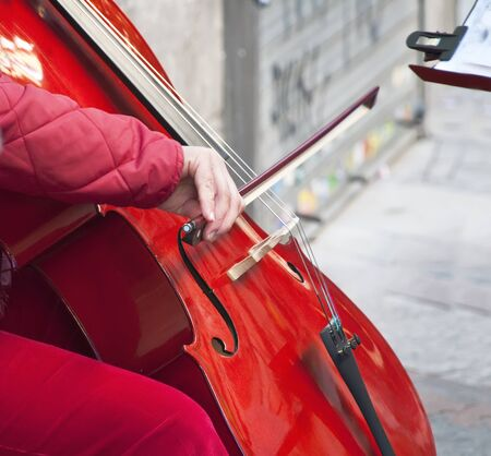 Closeup of a woman playing the cello  Stock Photo