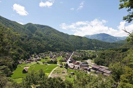 Panoramic view of the village of Shirakawago in the Japanese Alps Stock Photo - 11596907