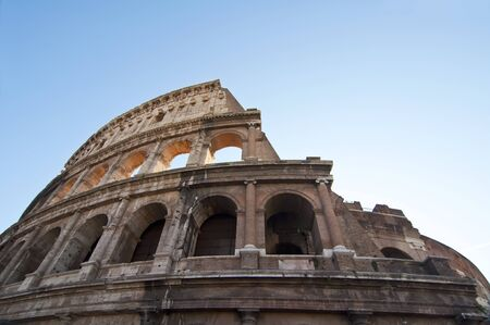 Detail of the top of the Colosseum in Rome, Italy photo