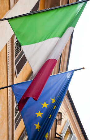 Italian flag and the European Union deep into the facade of a building Stock Photo - 11597031