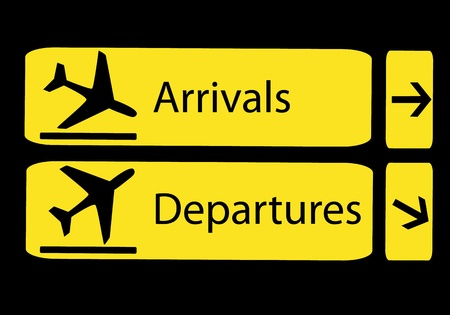 airport terminal: Signs of arrivals and departures at the airport