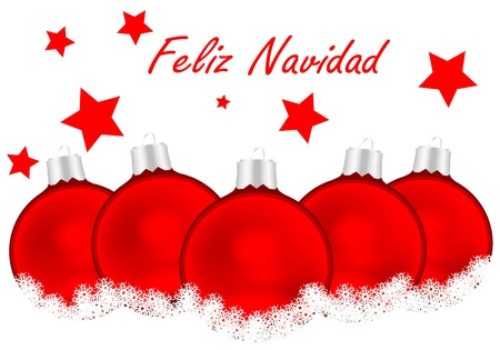 Merry Christmas Card in Spanish with white background and red balls Vector