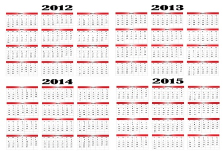 Calendar in Spanish 2012-2013-2014-2015 Vector