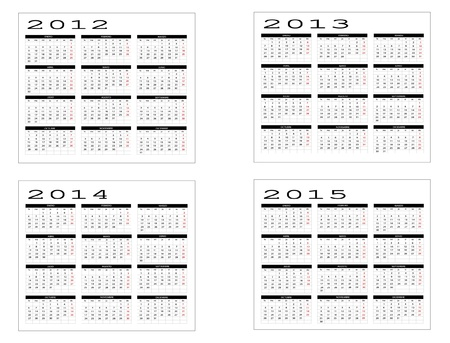 Calendar from 2012 to 2015