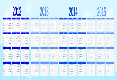 Calendar from 2012 to 2015 Vector