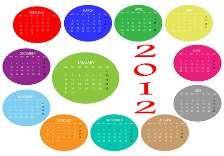 2012 Calendar of colors on a white background Stock Vector - 11596939
