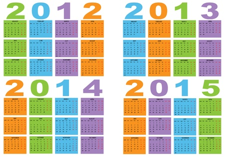 Calendar   2012-2013-2014-2015 Stock Vector - 11597033