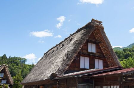 Detail of the roof of the gabled houses Shirakawago, Japan Stock Photo - 11596984
