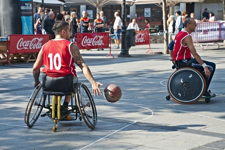 TOLEDO, SPAIN, OCTOBER 1: Some unidentified people playing a friendly game of wheelchair basketball