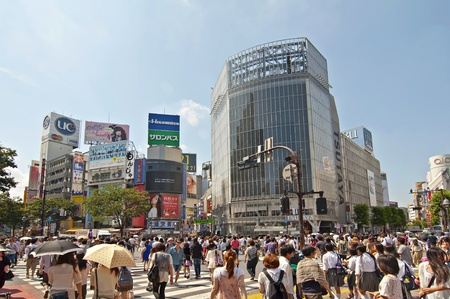 scramble: TOKYO, JAPAN - JULY 9: Shibuya crossing is one of the most famed examples of a scramble crosswalk in the world