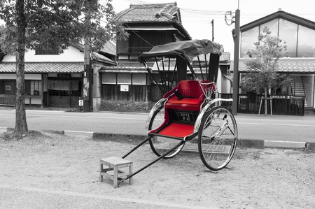 rickshaw: Rickshaw japanese. Black & white photography with color desaturation