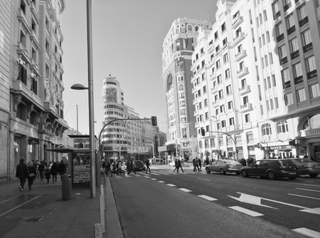 MADRID, SPAIN-27 NOVEMBER: Gran Via street on November 27, 2011 in Madrid, Spain.  Mainly is one of the streets of Madrid, starts in Alcal� Street and ends at the Plaza of Spain. Its construction was in the early twentieth century