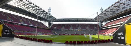 COLOGNE, GERMANY, SEPTEMBER 21: panoramic view of the Rhein Energie Stadium FC Cologne on September 21, 2010 in Cologne, Germany.  It has a capacity of 46,120 spectators and was rebuilt in 2000