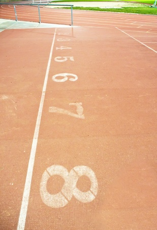 Number on the start of a running track photo