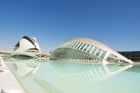 VALENCIA - SEPTEMBER 9: The City of Arts and Sciences designed by Santiago Calatrava  Editorial