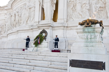 emmanuel: ROME, ITALY, OCTOBER 18: unidentified soldiers standing guard at the Monument to Victor Emmanuel II on October 18, 2011 in Rome, Italy.  Made in honor of the first king of united Italy, Victor Emmanuel II in 1911