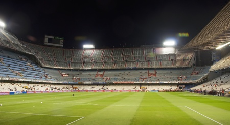Valencia, Spain-September 10: panoramic view of the football field FC.Valencia