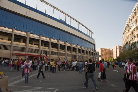 followers around the football stadium