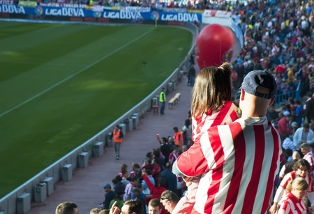 MADRID,SPAIN-OCTOBER 16: Vicente Calderon soccer stadium during a soccer game Atl�tico Madrid vs. Getafe on October 16,2010 in Madrid,Spain.The result of the match was Atletico Madrid 2 - Getafe 0