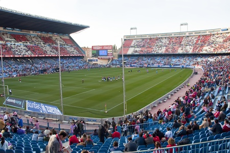 MADRID, SPAIN-FEBRUARY 26: Vicente Calderon soccer stadium during a soccer game Atl�tico Madrid vs. Sevilla on February 26, 2011 in Madrid, Spain.The result of the match was Atletico Madrid 2 - Sevilla 2