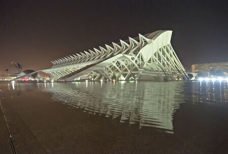 hemispheric: VALENCIA - SEPTEMBER 9: Night view of The City of Arts and Sciences