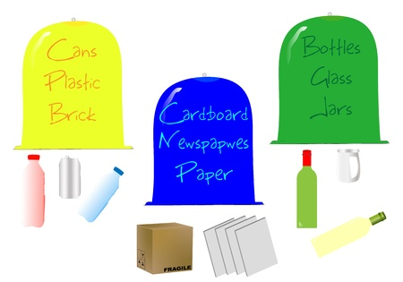 Containers recycled paper, glass and plastic Vector