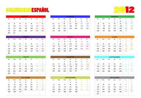 week end: Espa�ol Calendario 2012 Vectores