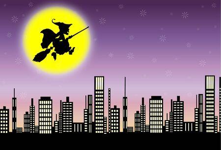 enchantress: Witch flying city  Illustration