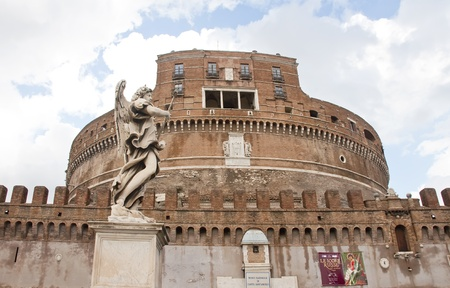 initiated: Castle of St. Angelo in Rome, Italy. Also known as the Mausoleum of Hadrian.  Initiated by the Emperor Hadrian in 135 and completed by Antoninus Pius in 139 Stock Photo