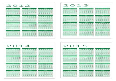 Calendar year in Spanish 2012-2013-2014-2015  Vector