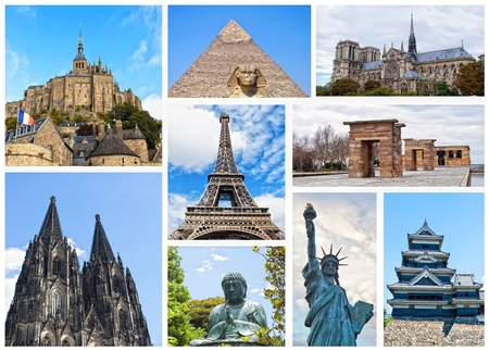 famous place: World Monuments Collage  Stock Photo