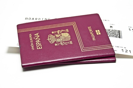 National passport airline tickets on a white background photo