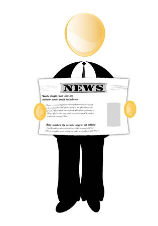 Executive reading newspapers Vector
