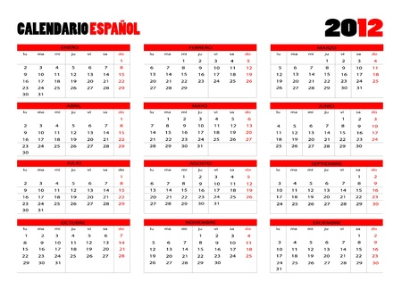 Calendar 2012 in Spanish Vector