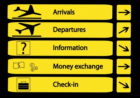 indicator panel: Direction signs at airports