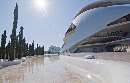 hemispherical: VALENCIA - SEPTEMBER 11:Palau de les Arts Reina Sof�a in the City of Arts and Sciences