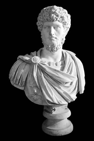 roman catholic: Roman marble statue of black background