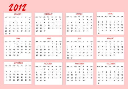 Calendar 2012 in english Vector