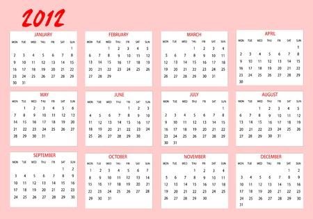 Calendar 2012 in english Vector