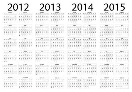 Calendar year in English 2012-2013-2014-2015