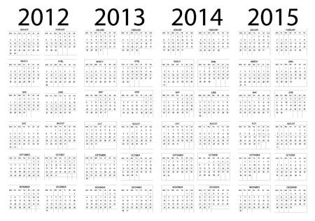 Calendar year in English 2012-2013-2014-2015 Stock Vector - 11773289
