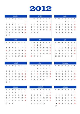 2012 calendar in French Stock Vector - 11773274