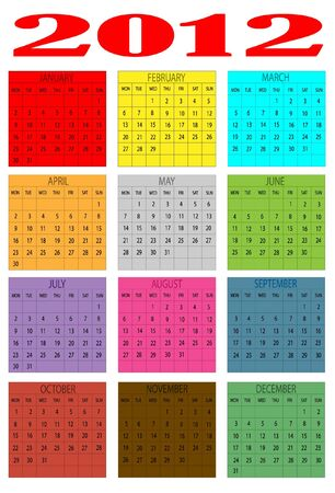 2012 Calendar of colors in English  Vector