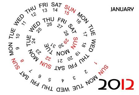 Calendar 2012, January in English Stock Vector - 11773271
