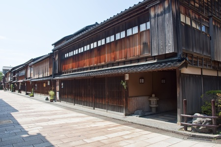 Typical Japanese neighborhood with traditional building houses photo