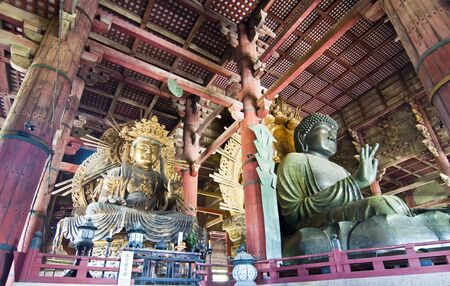 todaiji: Two giant Buddhas in Todai-ji Temple of Nara, Japan