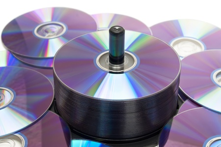 discs: Tower of cds  Stock Photo