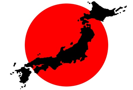 Map of Japan with the flag in the background  Vector